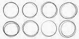 Hand drawn circle line sketch set. Vector circular scribble doodle round circles for message note mark design element. Pencil or pen graffiti  bubble or ball draft illustration - 178695189