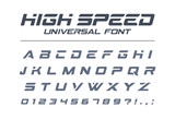 High speed universal font. Fast sport, futuristic, technology, future alphabet. Letters and numbers for military, industrial, electric car racing logo design. Modern minimalistic vector typeface - 178696754