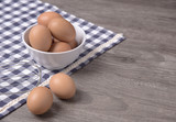 egg with copy space on wooden and tablecloth, Top view - 178698990