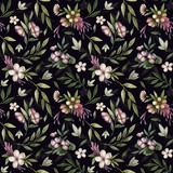 Seamless pattern with flowers on dark background.  Watercolor flowers. Vintage style.  - 178700375