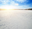 Snowcovered fields on blue sky