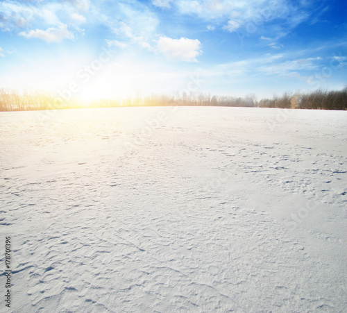 Fotobehang Landschappen Snowcovered fields on blue sky