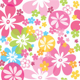Cute colorful seamless pattern with little flowers vector illustration white background