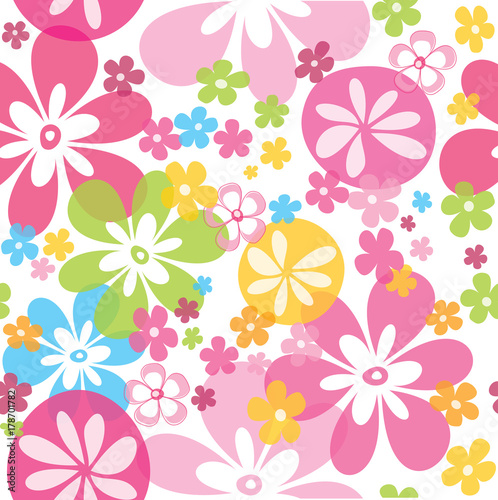 Cute colorful seamless pattern with little flowers vector illustration white background - 178701782
