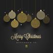 Christmas greeting card - patterned golden baubles on a black background. Vector illustration.
