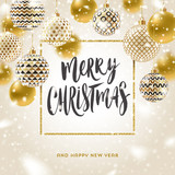 Christmas greeting card - Glitter Gold frame with brush calligraphy greeting and ornate christmas baubles. - 178703506