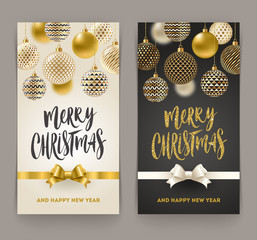 Christmas greeting card - Brush calligraphy greeting and ornate christmas baubles