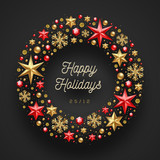 Christmas greeting illustration. Frame in the form of Christmas wreath made from stars, ruby gems golden snowflakes, beads and glitter gold. - 178704375