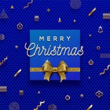 Christmas holiday design - golden greeting and glitter gold bow on a abstract christmas background. Vector illustration. - 178705714