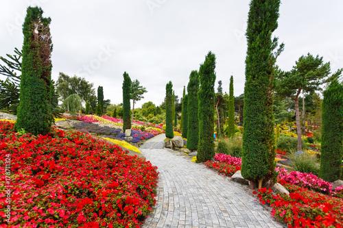 Fotobehang Wit Tropical garden, Norway