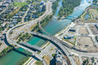 Aerial view of highways crossing the river. Bow river, Calgary, Alberta.