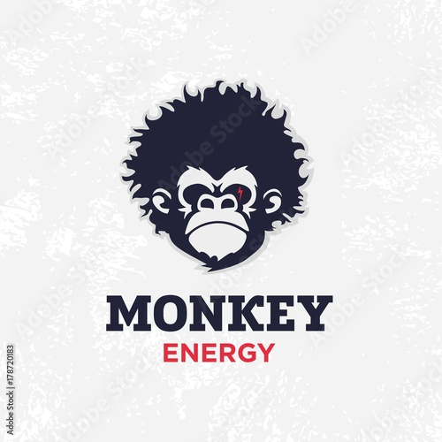 Fototapeta Modern vector professional sign logo monkey energy