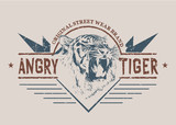 angry tiger graphic retro label.Prints vector design for t-shirt or other wear