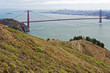View from Hawk Hill in Marin County, California of the Golden Gate Bridge to San Francisco