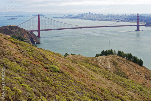 View from Hawk Hill in Marin County, California of the Golden Gate Bridge to San Poster