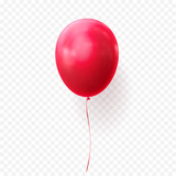 Red balloon vector illustration on transparent background. Glossy realistic baloon for Birthday party - 178725190