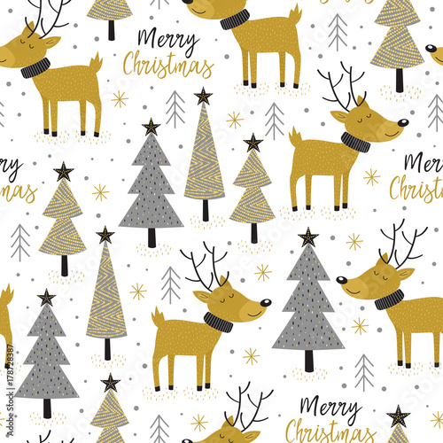 Cotton fabric seamless pattern gold Christmas trees and deer - vector illustration, eps