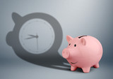 time is money concept, piggy bank with clock shadow - 178729985