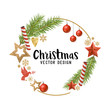 Christmas decorations composition with fir tree branches, wooden stars and baubles. Vector illustration