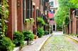 Boston picturesque cobblestone street in historic Beacon Hill. Most beautiful old street in Boston.