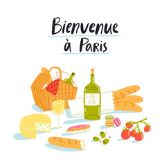 Welcome to Paris picnic illustration