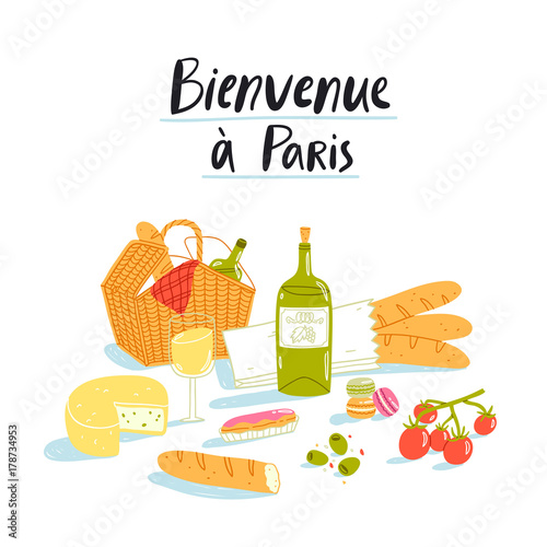 Sticker Welcome to Paris picnic illustration