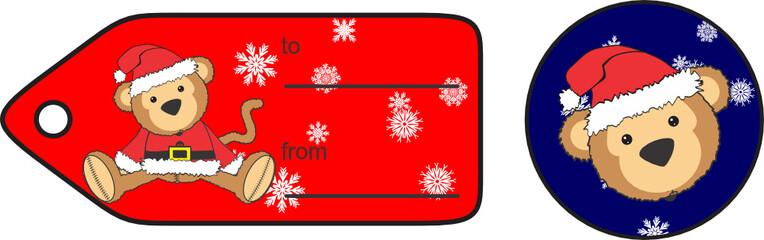 cute plush baby monkey cartoon santa claus costume giftcard in vector format