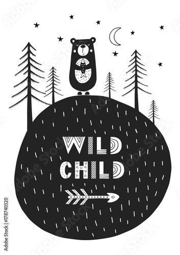 Wild child - Cute hand drawn nursery poster with cartoon animal and lettering in scandinavian style. - 178740320