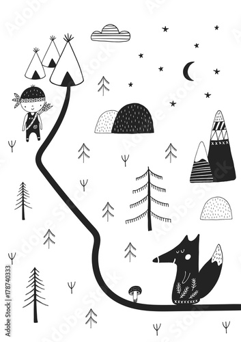 Cute hand drawn nursery poster with wild cartoon animal in scandinavian style. - 178740333