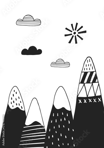 Cute hand drawn nursery poster with mountains in scandinavian style. Monochrome vector illustration - 178740352