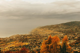 Amazing autumn landscape of Lavaux vineyards, swiss riviera, Lausanne area, canton of Vaud, Switzerland