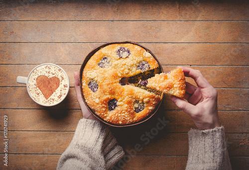 Homemade pie near cup of coffee