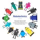 Cartoon Cute Toy Robots Banner Card Circle  Wall Sticker