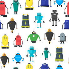 Cartoon Cute Toy Robots  Pattern  Sticker