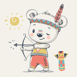 Fototapety Cute bear Indian with bow and arrow cartoon hand drawn vector illustration. Can be used for baby t-shirt print, fashion print design, kids wear, baby shower celebration greeting and invitation card.