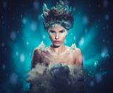 Beautiful ice queen in a falling snow - 178745121
