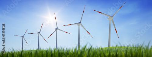 5 Windräder mit Wiese - 178748123