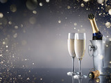 Celebration With Champagne - Pair Of Flutes And Bottle In Ice Bucket - 178751330
