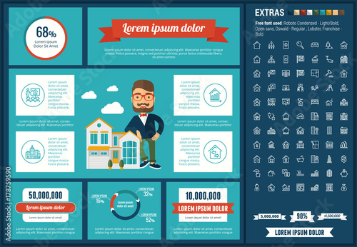 real estate infographic template and elements the template includes
