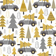 seamless pattern gold Christmas trees and car - vector illustration, eps