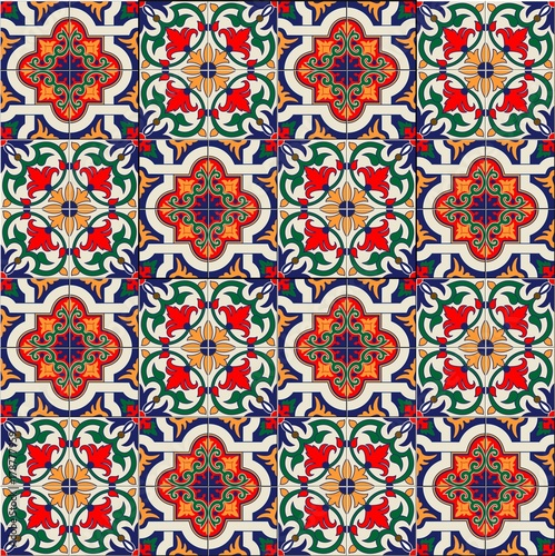 Gorgeous seamless pattern white colorful Moroccan, Portuguese tiles, Azulejo, ornaments. Can be used for wallpaper, pattern fills, web page background,surface textures. - 178777959