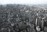 Aerial view Downtown Manhattan and Lower Manhattan New York, NYC, USA. Skyline with skyscrapers. Old slyle photo