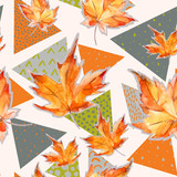 Autumn watercolor leaves on geometric background with doodles. - 178790939