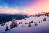 Fantastic pink evening landscape