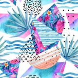Watercolor summer background with flowers, fan palm leaves, doodles, lines, geometrical shapes. - 178792142