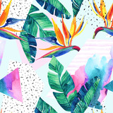 Watercolor exotic flowers, leaves, grunge textures, doodles seamless pattern. - 178792371