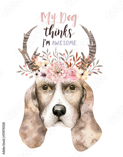 Watercolor closeup portrait of cute dog. Isolated on white background. . Hand drawn sweet home pet. Greeting card animal nursary design decoration - 178793128