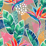 Watercolor tropical flowers with contour on geometric background. - 178793563