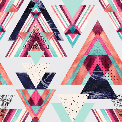 Triangles with aztec ornament, watercolor, doodle, black marble textures. - 178793706