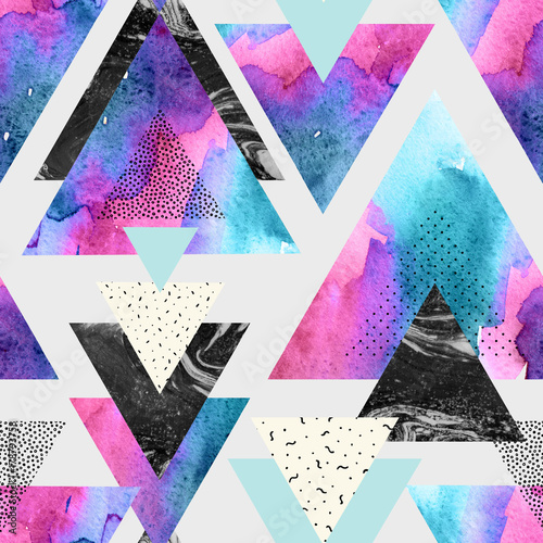 Triangles with watercolor, doodle, black marble textures. - 178793758